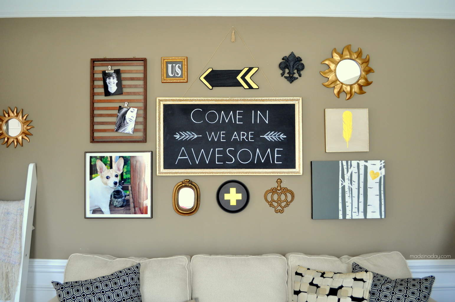 Art Gallery Wall chalkboard gold black madeinaday.com