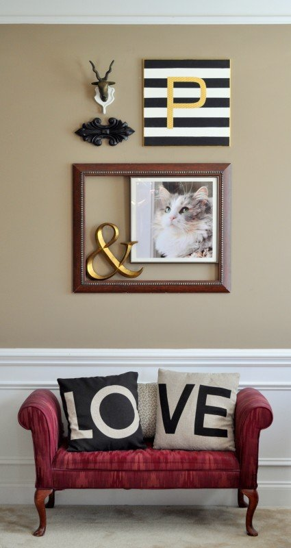 Black white gold small gallery wall
