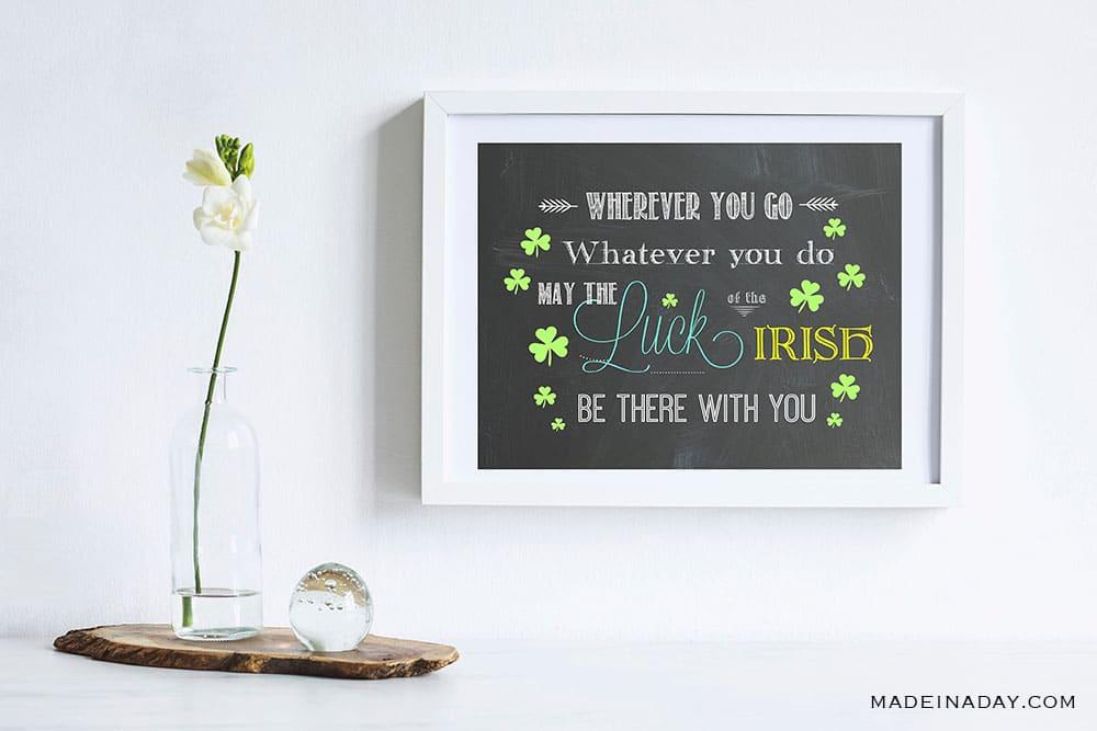 Irish Blessing Wall Art Printables, Luck of Irish