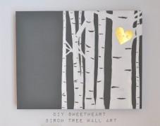 DIY Birch Tree Wall Art Madeinaday.com
