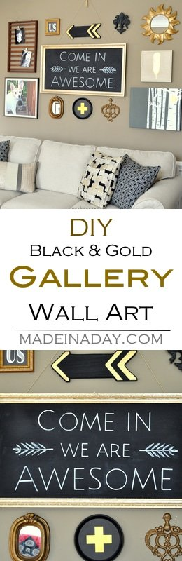 DIY wall art, gallery wall makeover. Make wall art from items you already own, upcycling them to reuse in a living room makeover and gallery wall. Black and gold gallery wall, feather wall art, arrows, Swiss cross, chalkboard art, + free printables We Are Awesome,#wallart #printable