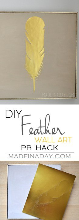 Gold Feather Wall Art PB Hack, Easy Silhouette Cameo Feather wall art for gallery walls, gold foil, tutorial on madeinaday.com