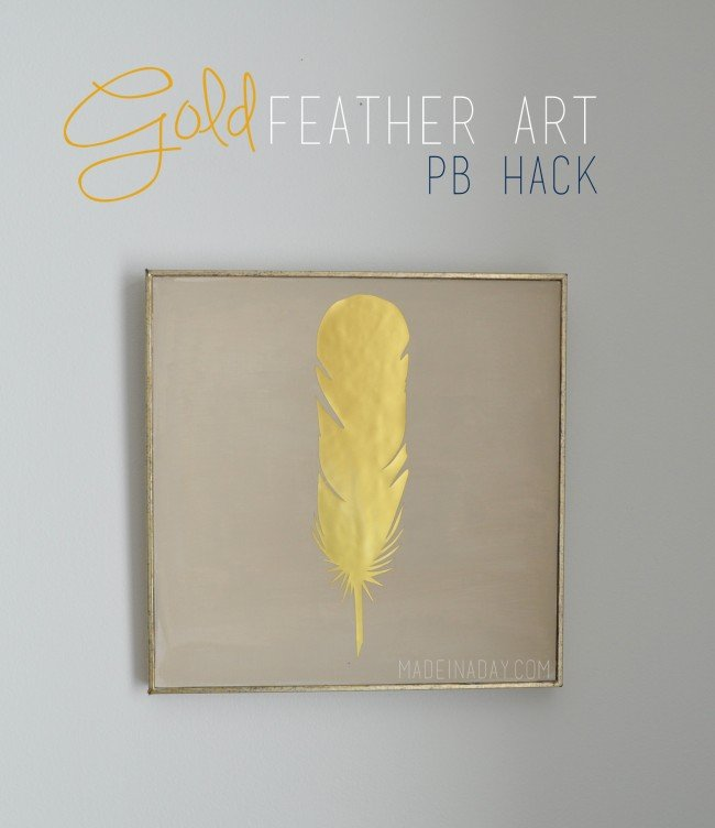 photograph relating to Printable Gold Foil Paper called Gold Feather Wall Artwork PB Hack