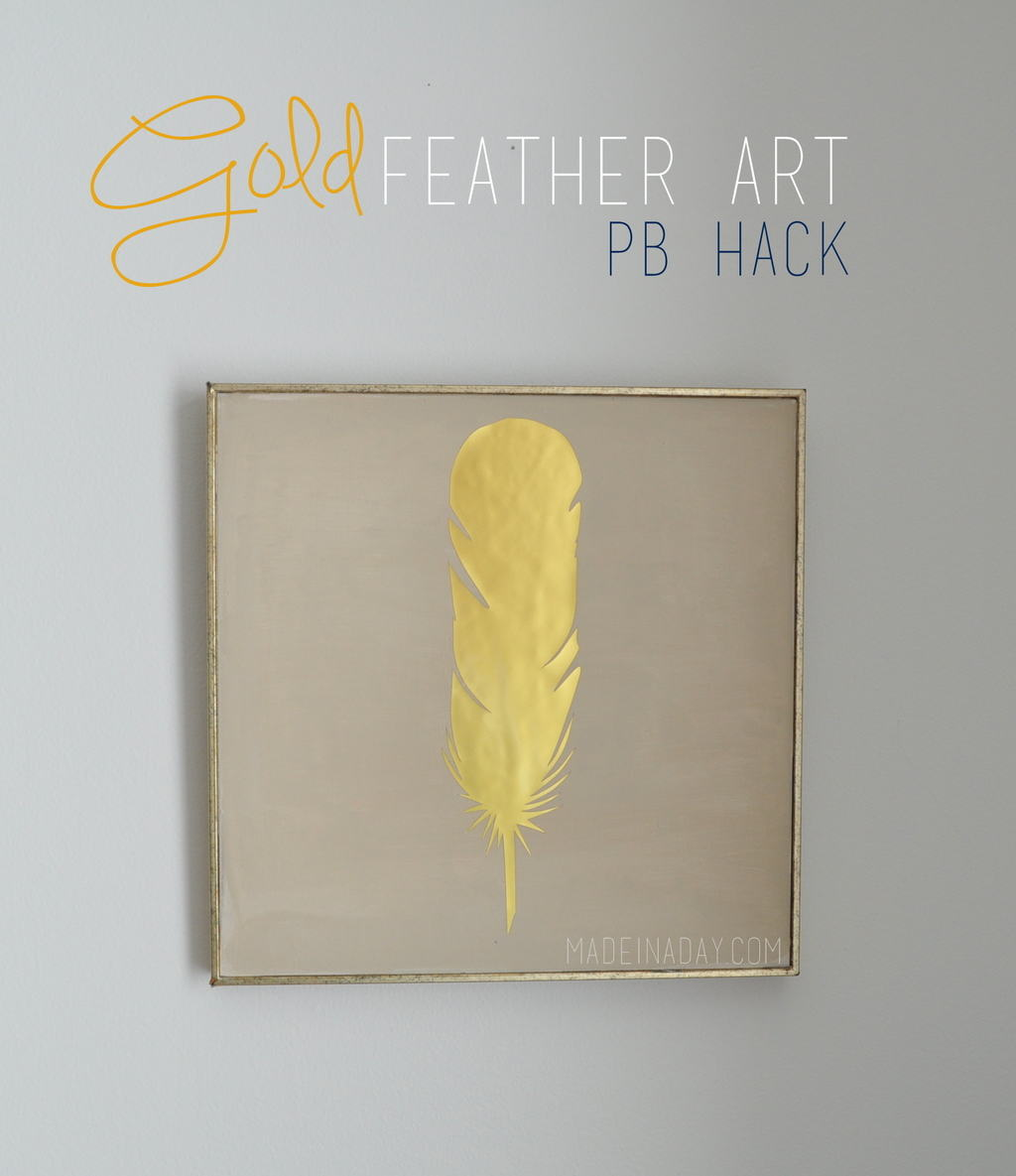 Gold wall decor diy : Gold feather wall art pb hack