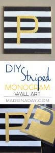 Black White Gold Monogram Wall Art 1