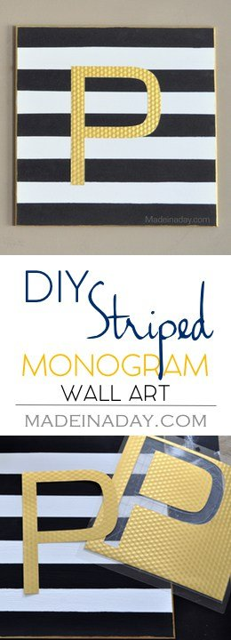 Black, White & Gold Monogram Wall Art, Silhouette Cameo project, gold foil, gallery wall series, easy diy, how to paint stripes, see the tutorial on madeinaday.com