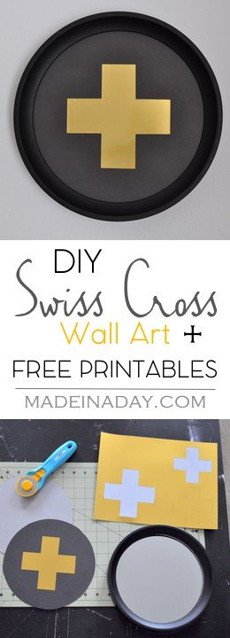 DIY Swiss Cross Wall Art, Free Printable Swiss Cross for gallery walls. Black & white Free Printable.