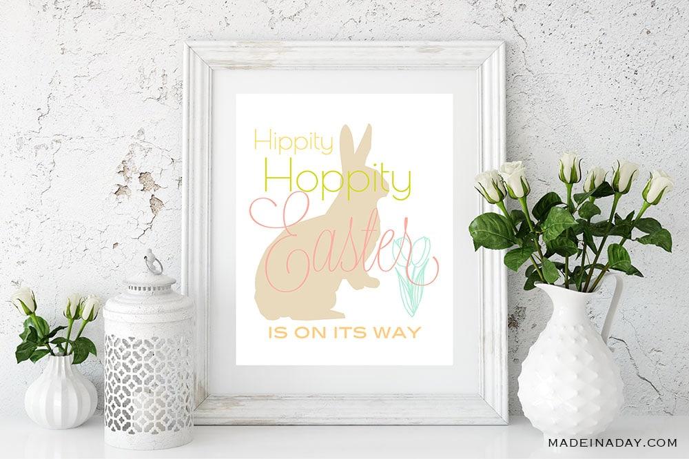 Hippity Hoppity Easter Printable Wall Art