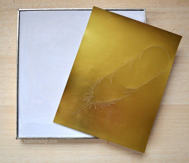Feather Pic using Silhouette Gold Foil paper madeinaday.com