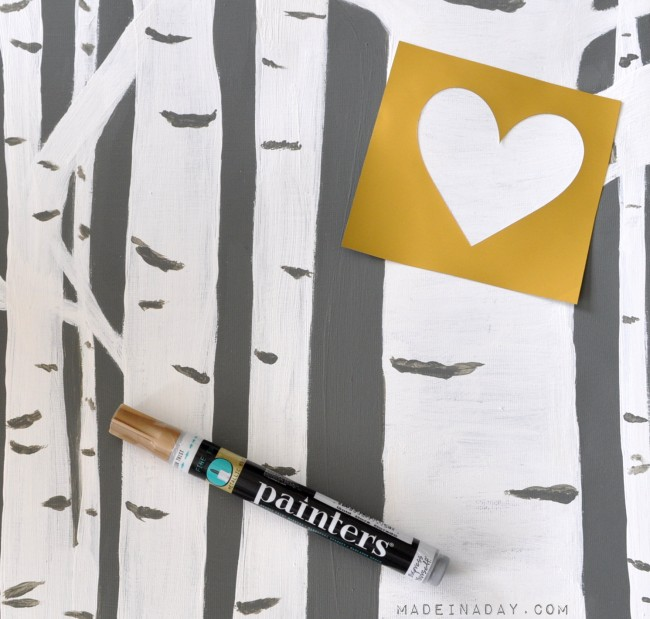 Hand paint a heart on canvas Birch Tree Art madeinaday.com