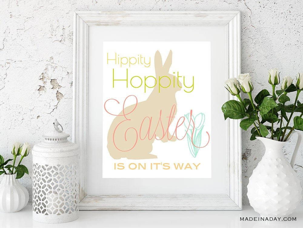 Easter print, easter wall art, rabbit wall art, hippity hoppity easter is on its way
