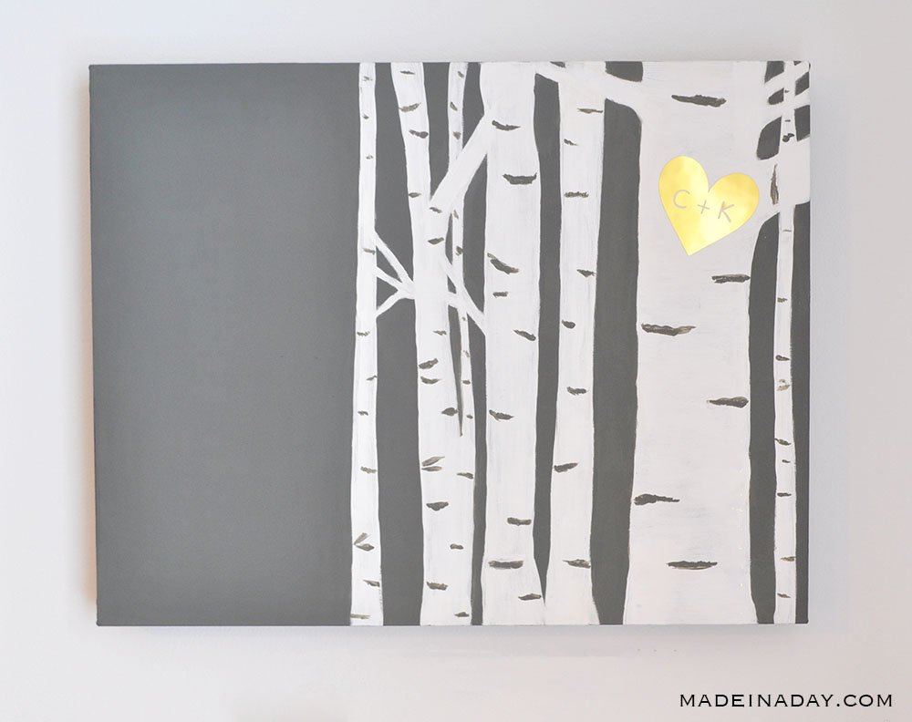 Easy Birch Tree Painting DIY and a Canvas Makeover