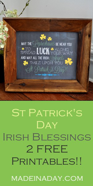 Irish Blessing Chalk Art FREE Printables, 2 Frameable Irish Blessings for your St Patrick's Day Parties or Home Decor!