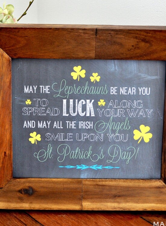 Irish Blessing Chalk Art FREE Printables 35