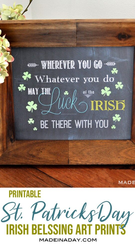 Irish Blessing art prints, Luck of the Irish blessing Prayer printable