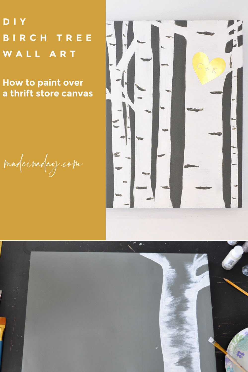 Easy Birch Tree Painting DIY + Canvas Makeover