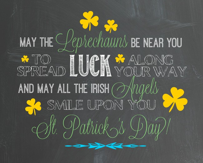 St Patricks Day Blessing Chalk Art Printable madeinaday.com