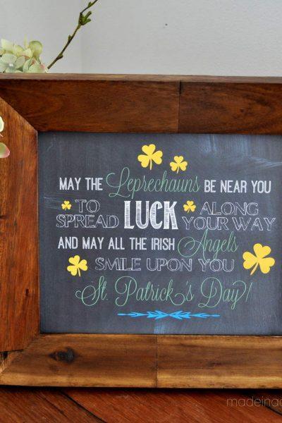 Irish Blessing Chalk Art FREE Printables