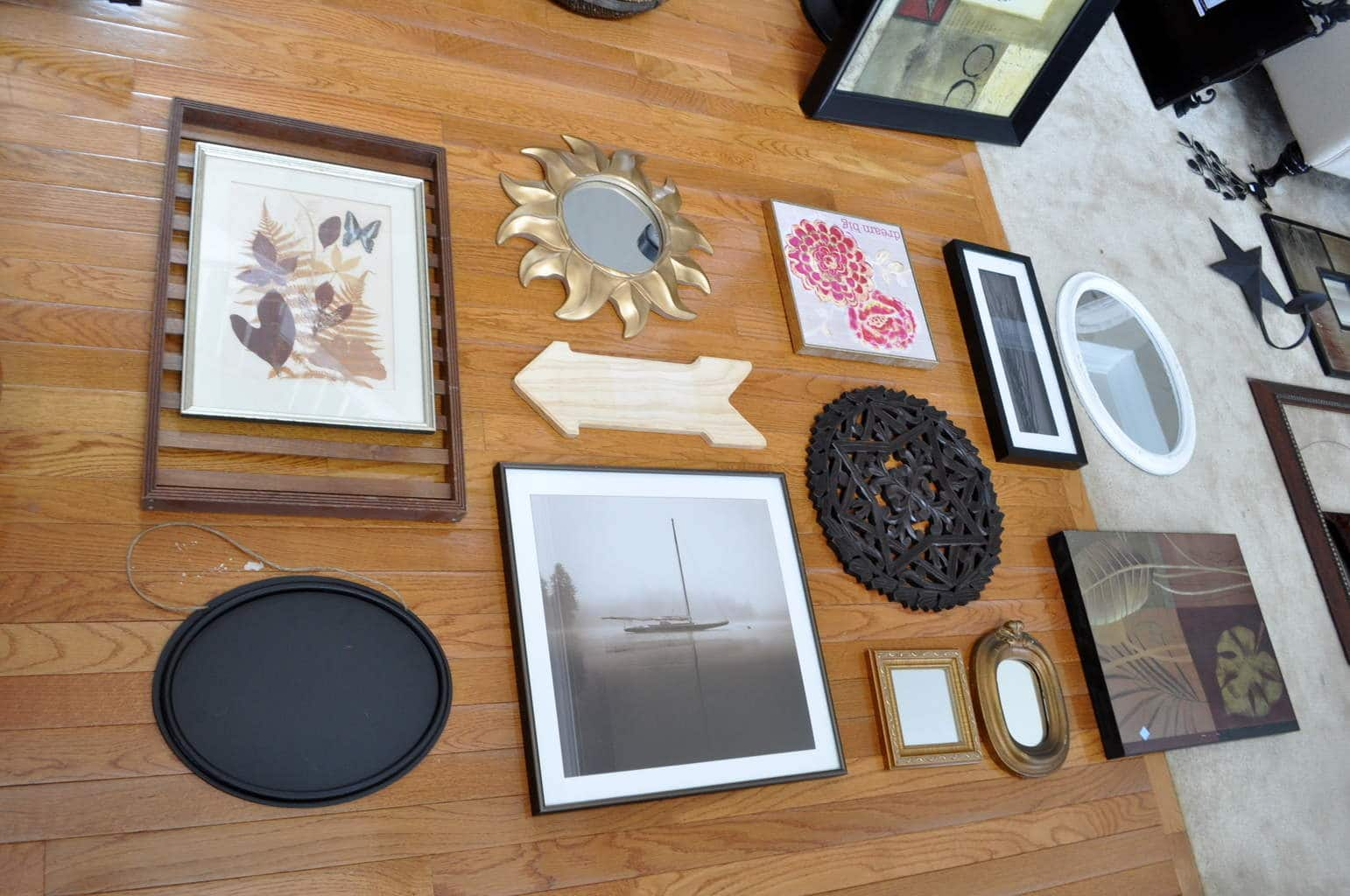 Thrift Store finds to gallery wall