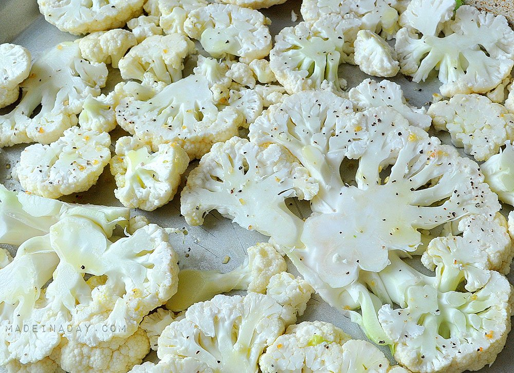 cauliflower with garlic and olive oil, baked cauliflower, how to roast cauliflower
