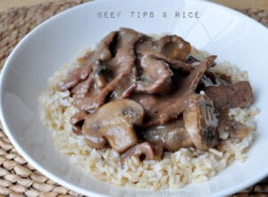 Beef Tips Mushroom Gravy Rice slow cooker