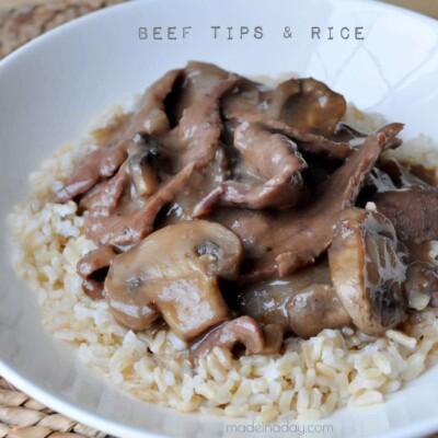 Beef Tips Mushroom Gravy & Rice