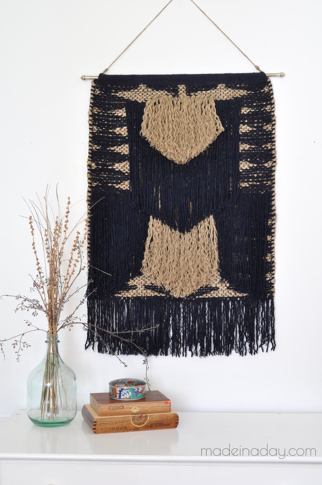 DIY large fringe tapestry from a rug