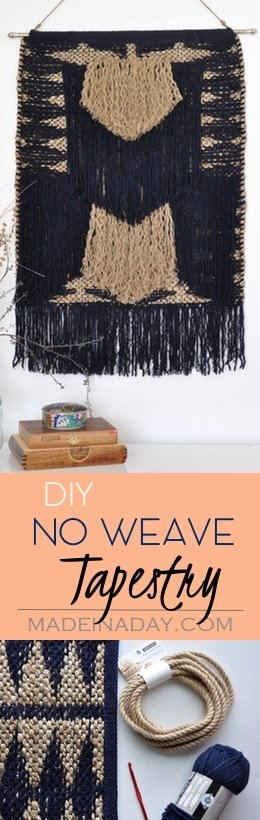DIY Tapestry from a Throw rug! No Weave, Nate Burkus rug, jute twine, jute rope, cute trendy DIY, navy blue, fringe, tassels #weave #rug #tapestry #DIY #diyhomedecor #blue #fringe #wallart