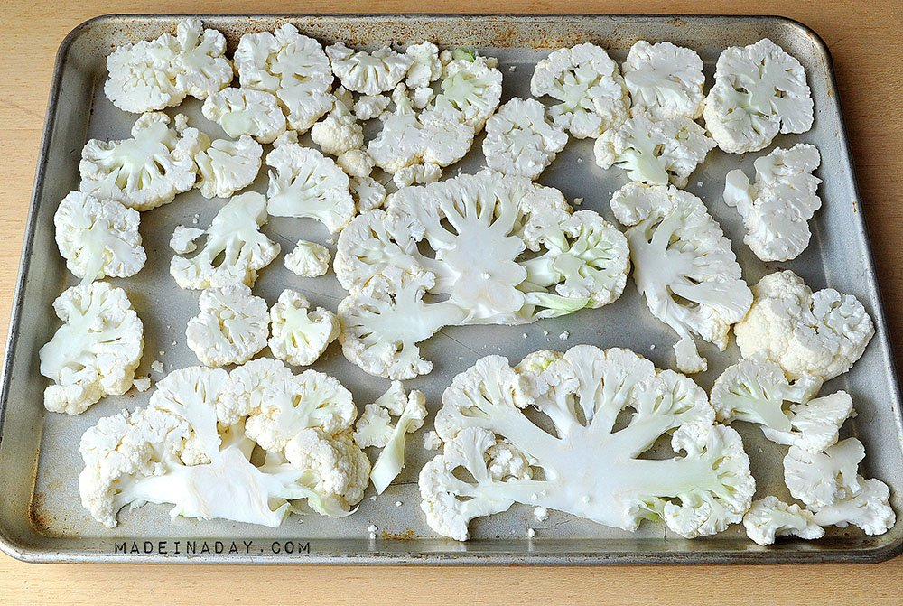 How to cut cauliflower into slices, cauliflower steak slices, cauliflower with garlic