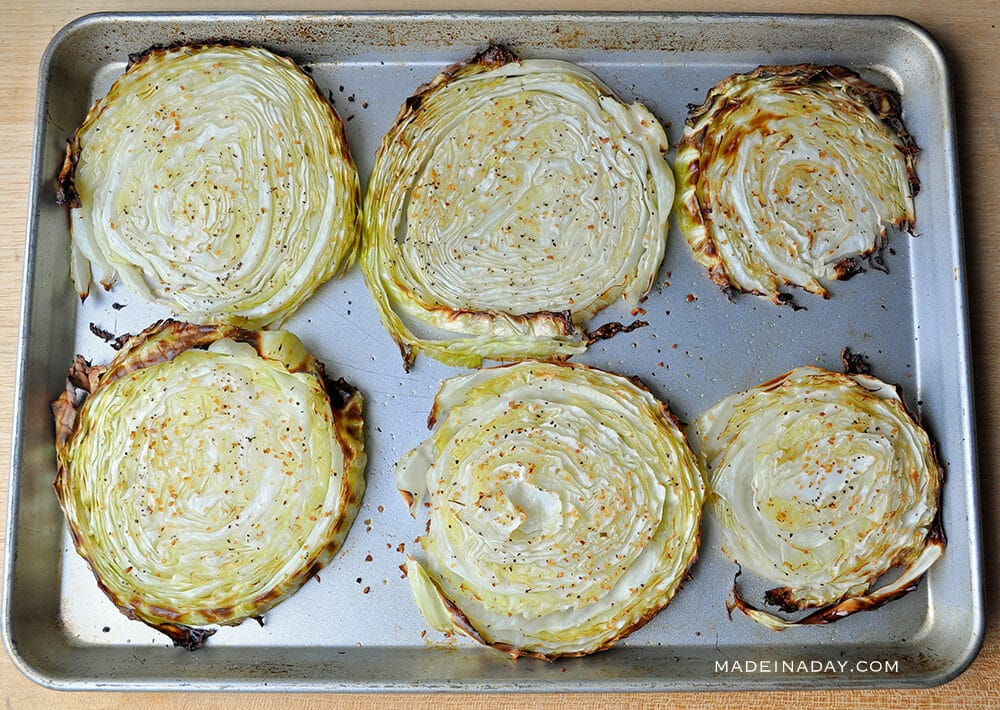 Simple Oven Roasted Cabbage Steaks, oven baked cabbage steaks,
