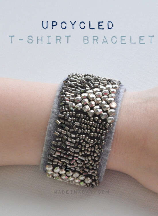 Upcycled Embellished T-Shirt Bracelet 34