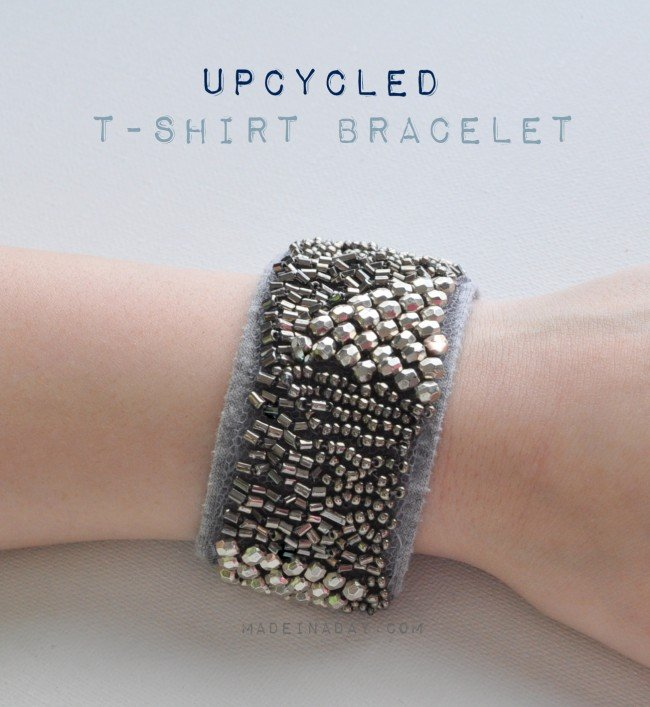 Upcycled Embellished T-shirt bracelet madeinaday.com