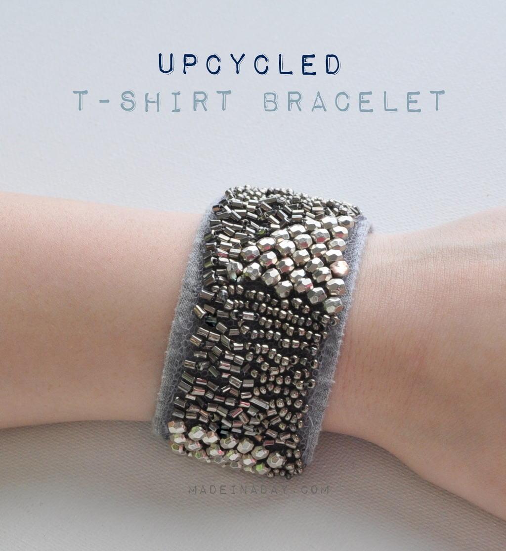 Upcycled Embellished T-Shirt Bracelet
