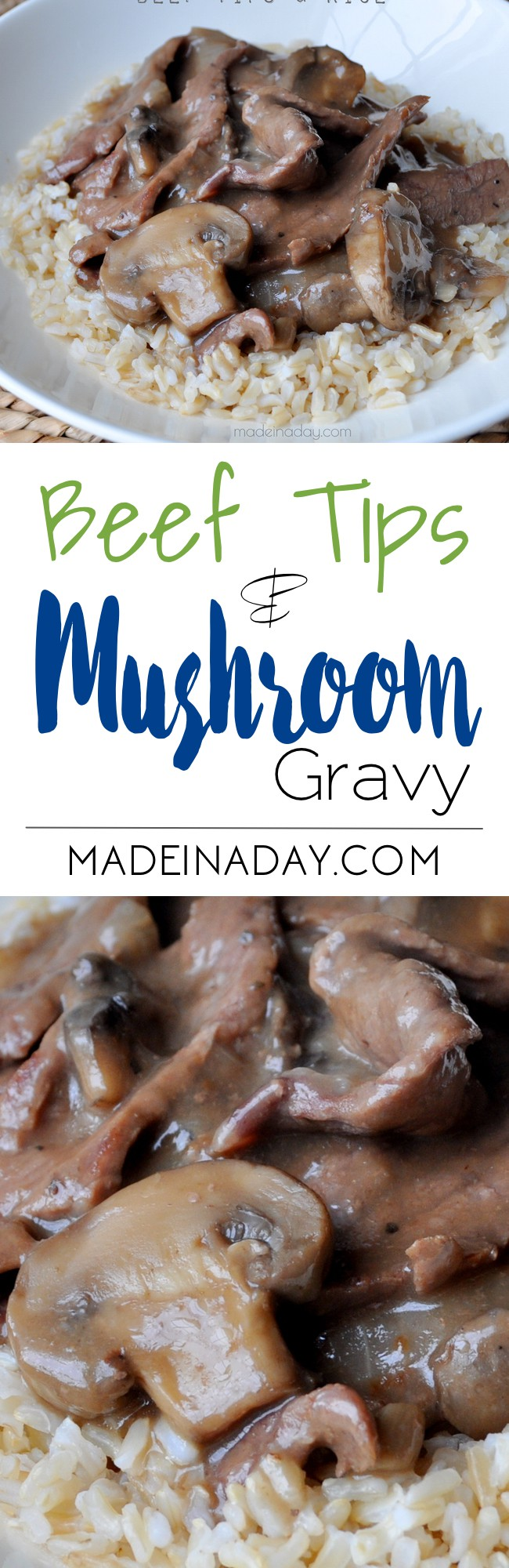 Beef Tips & Mushroom Gravy Recipe, Tender beef tips smothered mushroom gravy. Great Southern comfort food recipe, easy family meal, beef gravy, mushroom gravy, beef