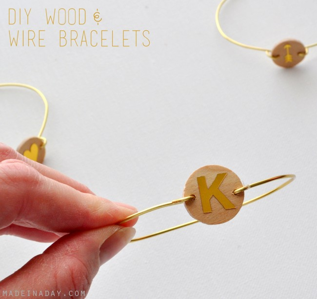 DIY Monogram Wood Wire Bracelet madeinaday.com