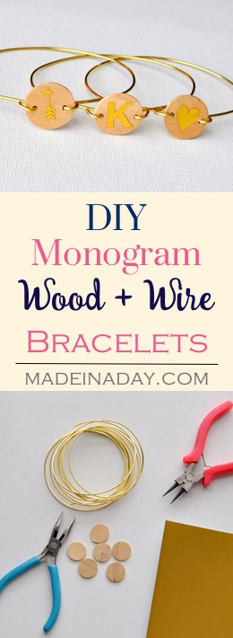 Wood Monogram Wire Bracelet, Easy wood & gold wired monogram bracelets, gold foil, Silhouette Cameo project, DIY Jewelry