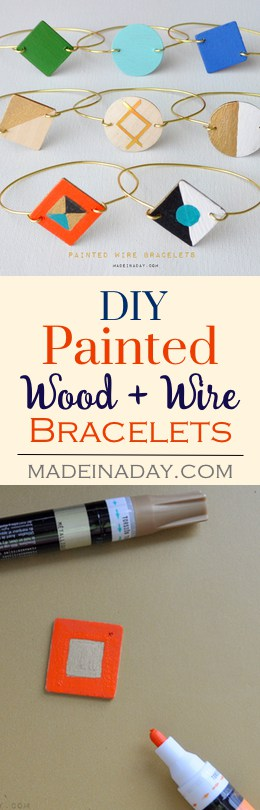 Painted Wood Wire Bracelets, Learn to make these adorable painted wood & gold wire bracelets, DIY jewelry, gold wire bracelets madeinaday.com