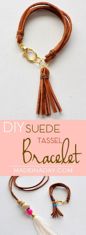 DIY Suede Tassel Bracelet, Make this super cute trendy leather tassel and layered suede bracelet. #leather #bracelet #jewelry #DIYJewelry #suede