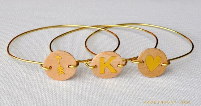 DIY Wood Monogram Wire Bracelets madeinaday.com