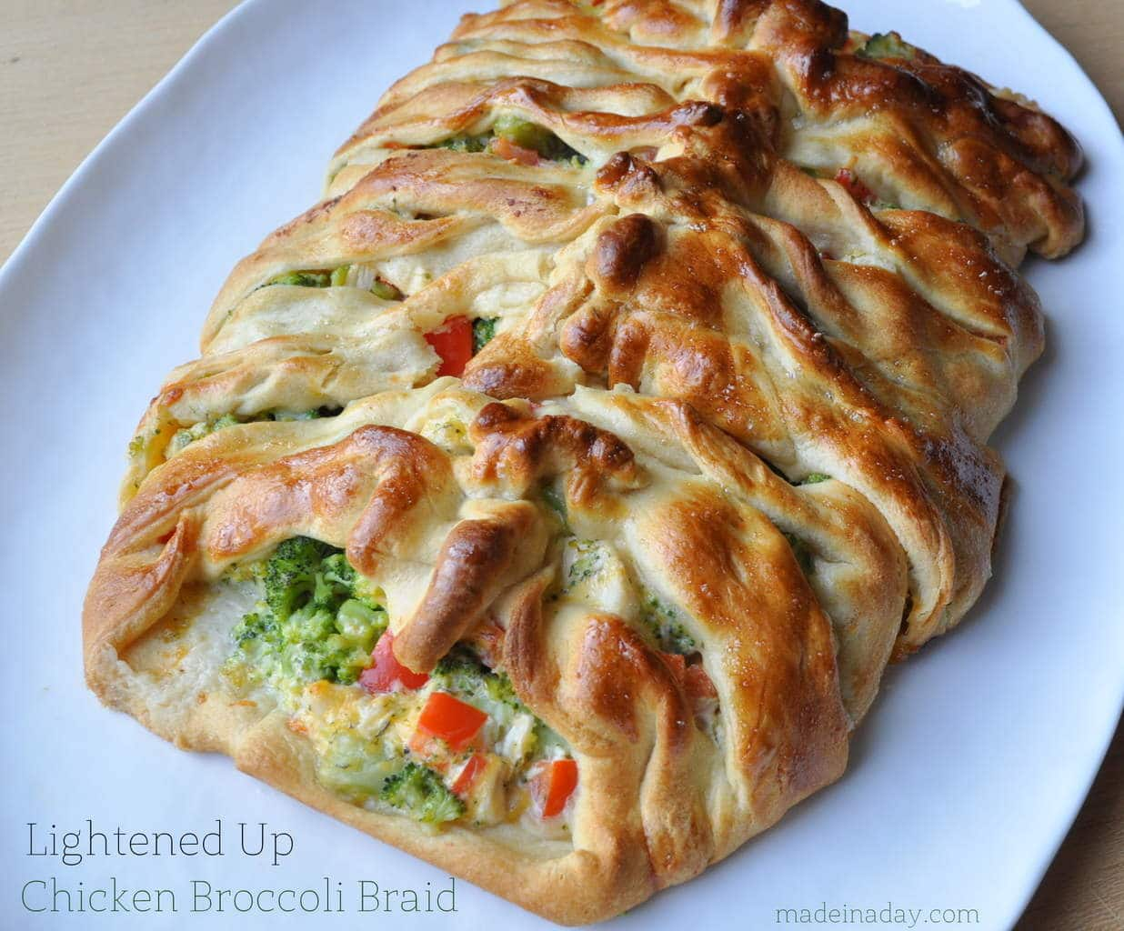 Light Chicken Broccoli Braid madeinaday.com