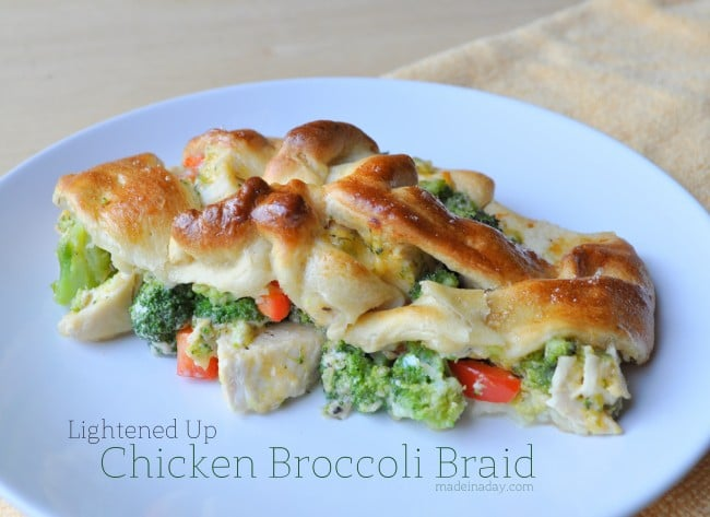 Light Crescent Roll Chicken Broccoli Braid madeinaday.com