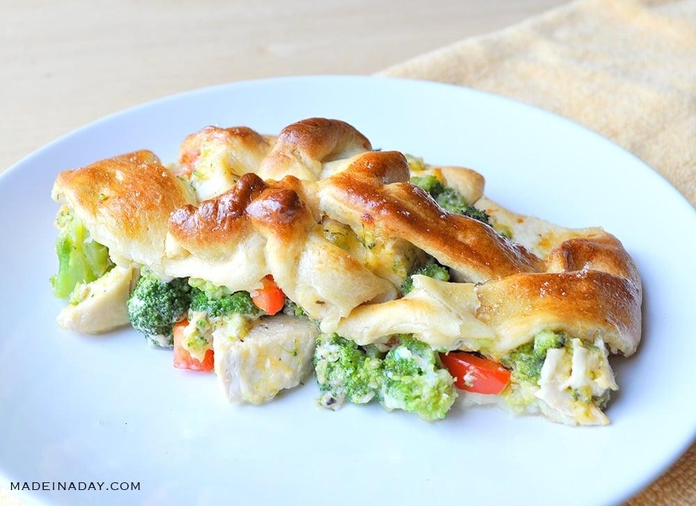 no mayo chicken broccoli braid, chicken broccoli crescent roll braid, Pampered Chef Chicken braid recipe