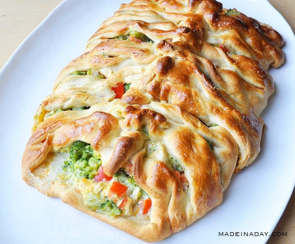chicken broccoli braid, chicken broccoli crescent roll braid, Pampered Chef Chicken braid no mayo,
