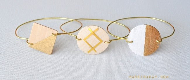 Painted Gold Wood Wire Bracelet madeinaday.com