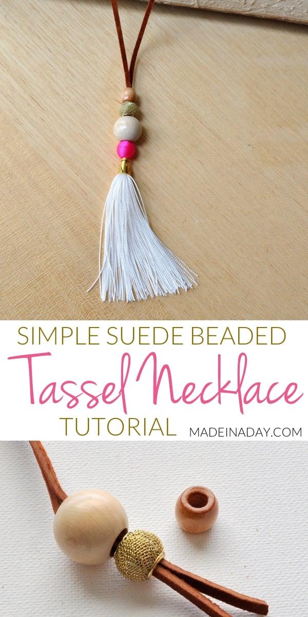 Simple Suede Tassel Necklace, tassel necklace, boho necklace, bohemian jewelry, leather tassel necklace, #tassel #tasselnecklace #bohojewelry