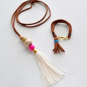 Suede Tassel Necklace and Bracelet Set tutorial