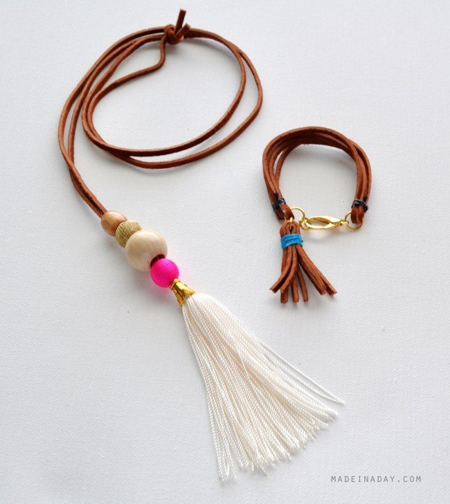 Suede Tassel Necklace and Bracelet Set tutorial