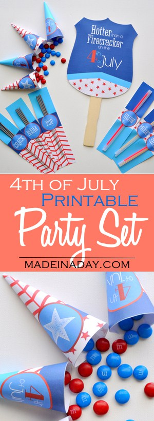 Printable 4th of July Supply Kit, FREE printables, hand fan, sparkler holders, glow stick holders and candy cones. Be the hit of the party!
