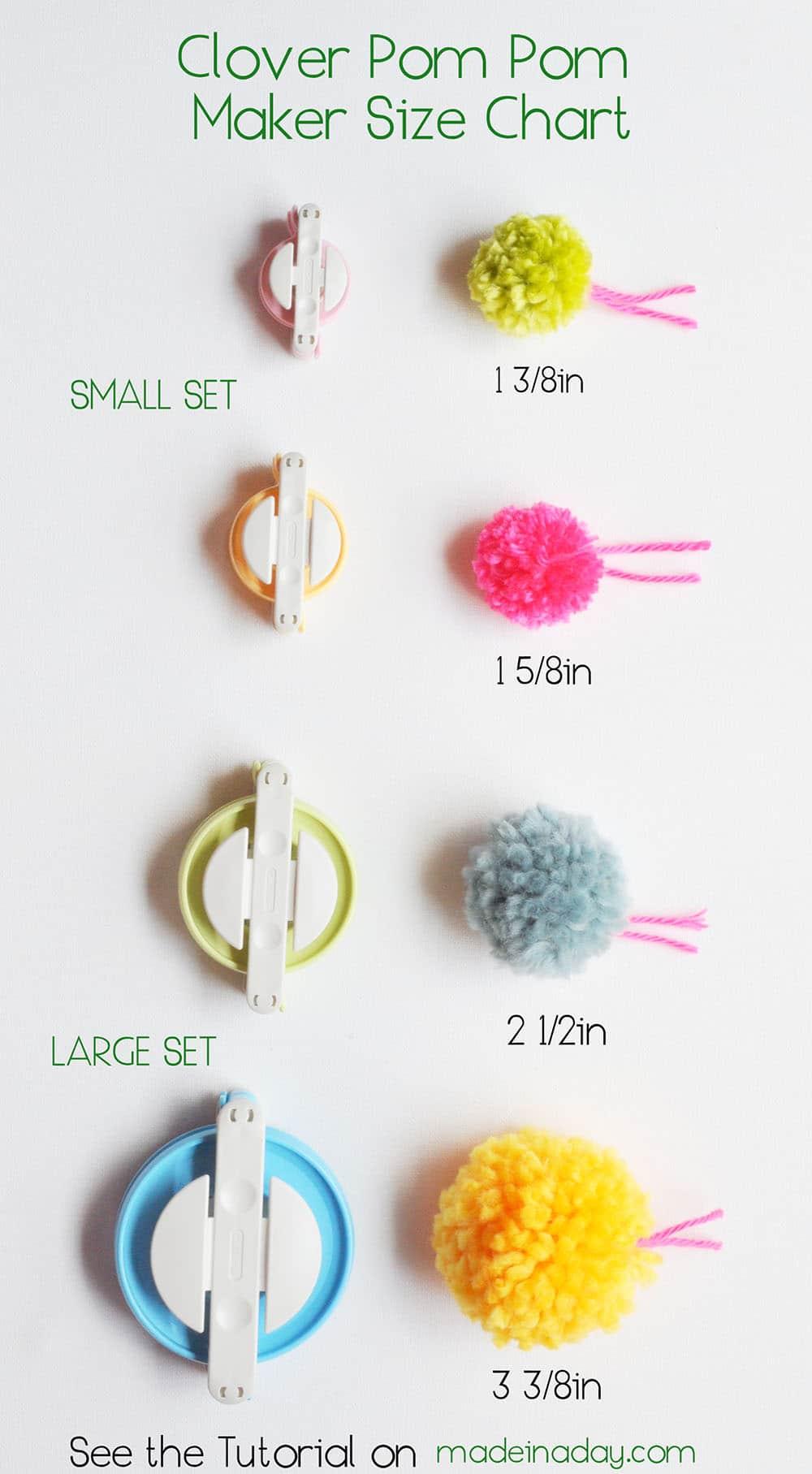 Yarn Pom Pom Size Chart