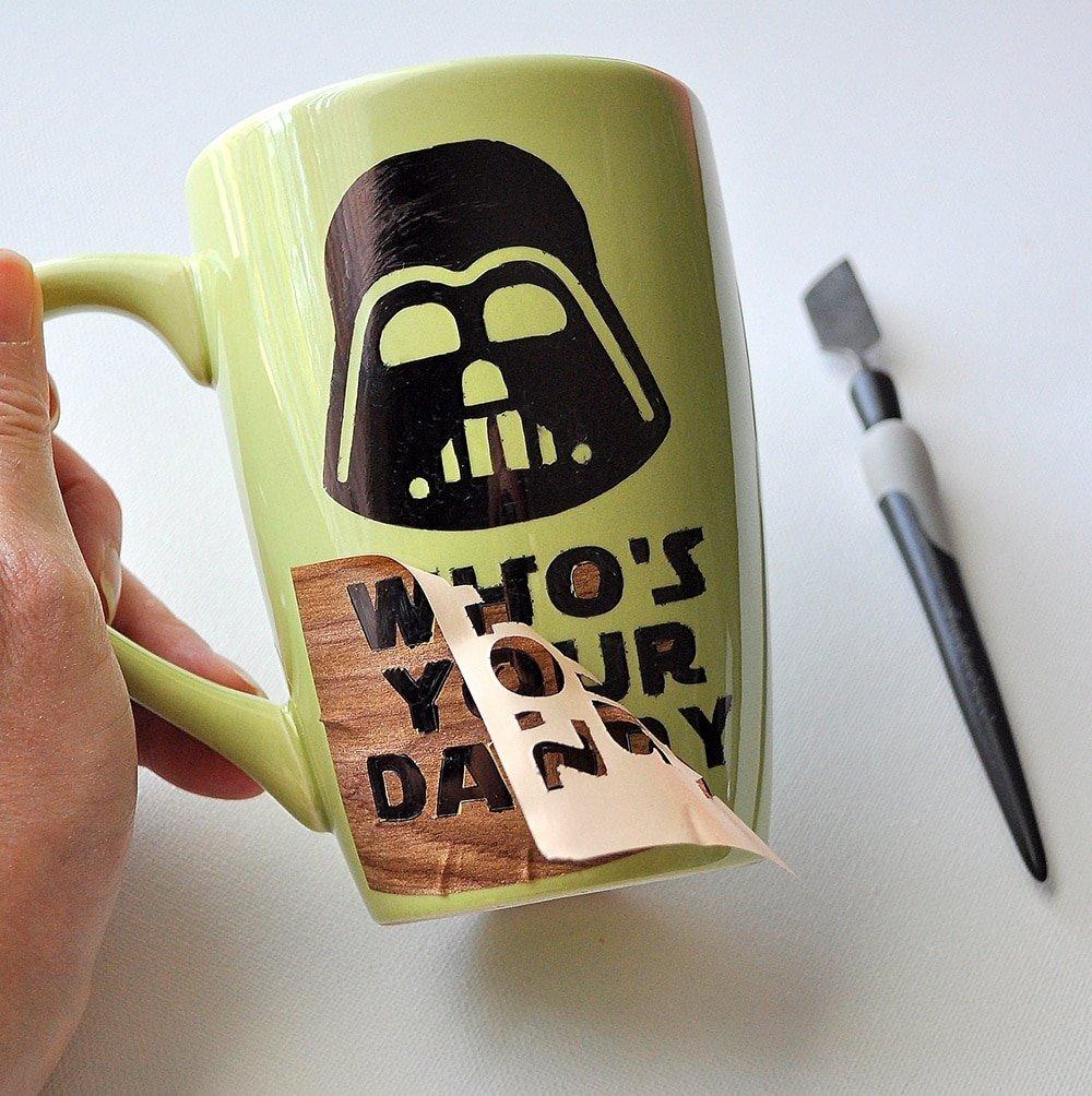 Using a stencil on a sharpie mug